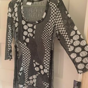 Bali Tops - Bali Black and White Sheer Tunic